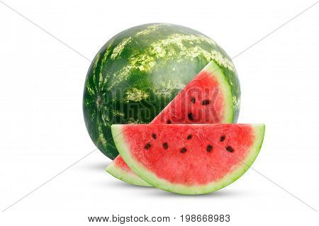 Fresh watermelon and slices of watermelon isolated on white background. An isolated object.