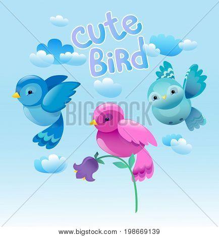 Vector Colorful Cartoon Bird, Cute Bird Vector Illustration, Bird on Blue background