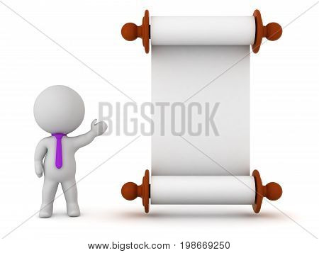 3D character wearing a tie showing a large empty scroll. Isolated on white background.