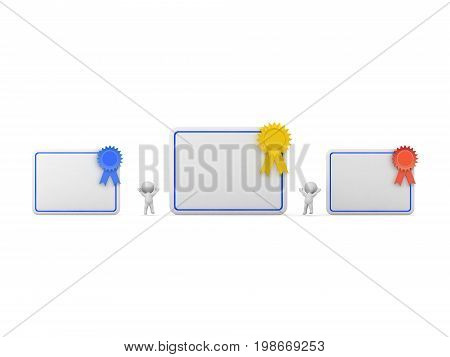 3D characters and large diplomas with ribbons. Isolated on white background.