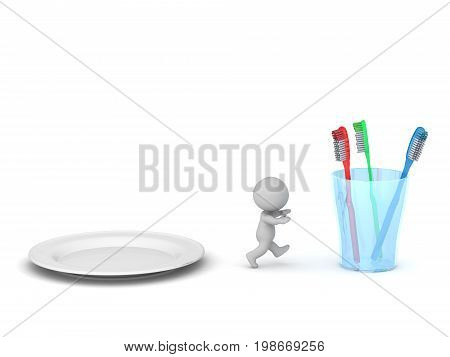3D character running away from a plate of food toward a glass with toothbrushes. Isolated on white background.