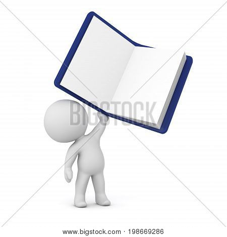 A 3D character holding up a large notepad. Isolated on white background.