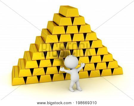 3D character and a stack of gold bars. Isolated on white background.