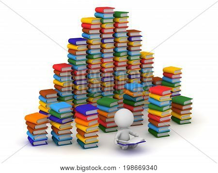 3D character reading and surrounded by large stacks of colorful book. Isolated on white background.