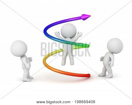 3D character with a colorful spiral around him and characters looking at him. Isoalted on white background.