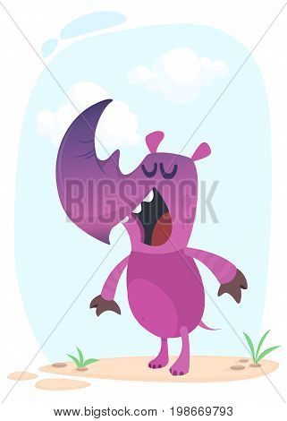 Cute cartoon rhino character singing. Vector Illustration mascot