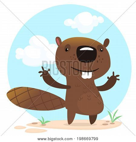 Cute funny cartoon vector beaver waving with his hands. Fluffy beaver character with big teeth presenting. Brown beaver mascot
