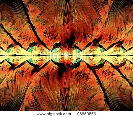 Computer generated fractal artwork with bipolar string