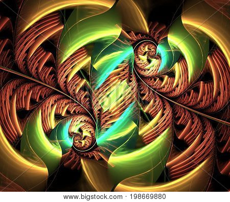 Computer generated fractal artwork with flower whirl
