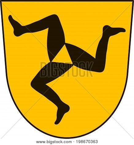 Coat of arms of Fussen is a town in the district of Ostallgau Bavaria Germany. Vector illustration from the