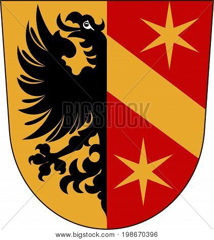 Coat of arms of Kaufbeuren is an independent town in Swabia Bavaria of Germany. Vector illustration from the