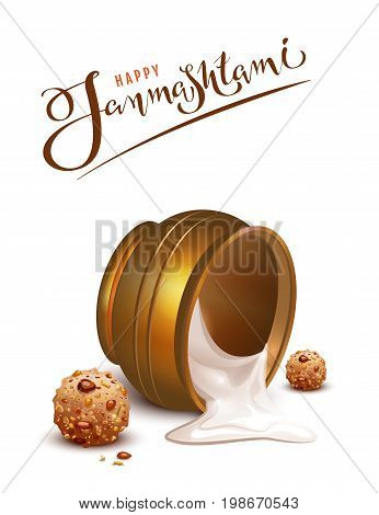 Happy Janmashtami lettering text and overturned pot greeting card. Isolated on white vector illustration