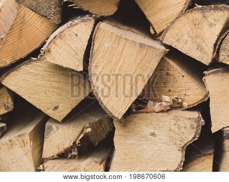 Close-up of pile of firewood for the oven