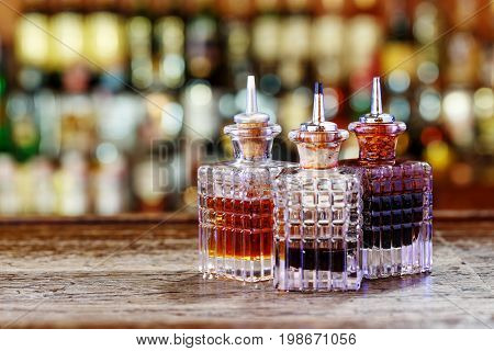 Droppers for bitters on the bar - measuring bits for bitters inventory for barman mixologist work space for text