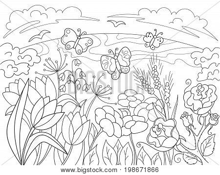 Childrens coloring cartoon Glade with flowers in nature. For adults vector illustration. Anti-stress for adult. Black and white lines