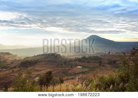 The landscape photo beautiful sea fog in morning time at Khao Kho Phetchabun in Thailand