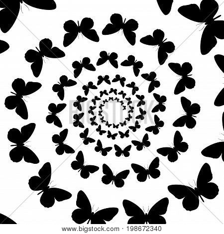 Background pattern black and white spiral pattern. Round centered Halftone illustration. Butterfly rotation rotation.