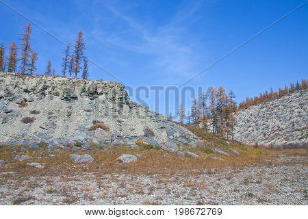 Bank of the river Moierokan and Siberian taiga in the autumn. Evenkiya Krasnoyarsk region Russia
