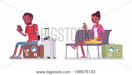Black male and female tourist sitting. Unhappy with service travel agency and destination management company, poor planning. Vector flat style cartoon illustration, isolated, white background