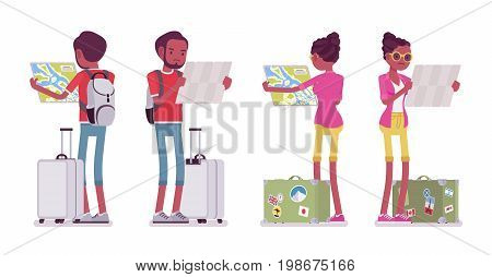 Black male and female tourist map reading. Looking for accommodation, self-guided. Front, rear view. Travel and tourism concept. Vector flat style cartoon illustration, isolated, white background