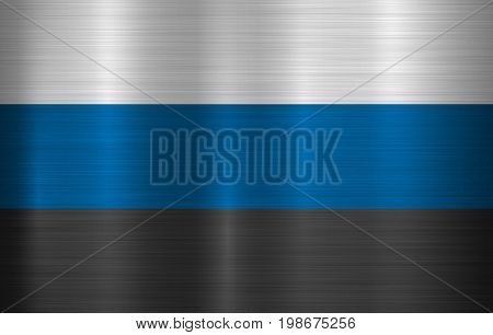 Metal flag of Estonia, EESTI with official proportions and colors, polished, brushed texture, chrome, silver, steel for backgrounds, wallpapers, design, web, print. Vector illustration.