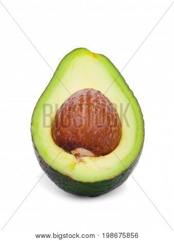 Macro picture of a green avocado half, isolated on a white background. A cut pear-shaped fruit with a rough leathery skin, edible flesh, and a large core. Healthy food. Delicious natural salads.