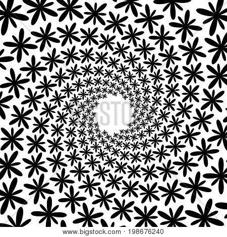 Background, Pattern, Black And White Spiral Pattern. Round Centered Halftone Illustration. Flower, P