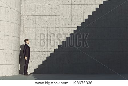 Young man in front of stairs to success. This is a 3d render illustration