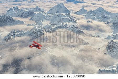 Aircraft flies over a snowy mountain range. This is a 3d render illustration