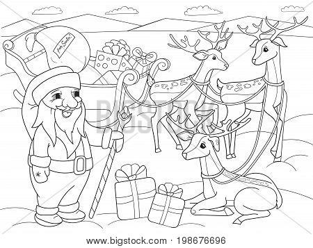 Childrens coloring cartoon animal friends in nature. Santa claus on the north pole next to sleighs and magical deer. Anti-stress for adult. Black and white lines