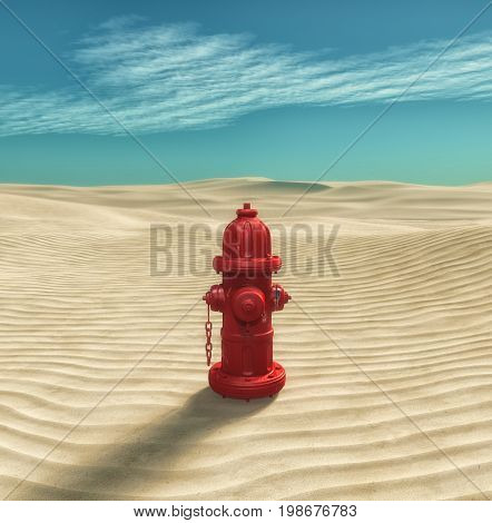 Fire hydrant in the desert. This is a 3d render illustration