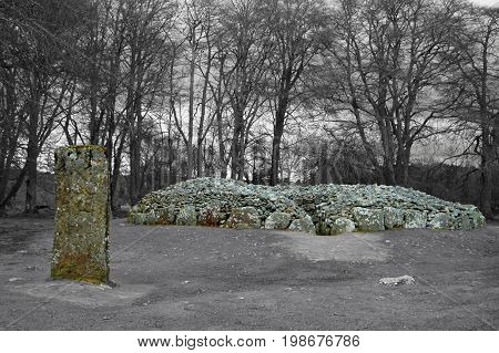 Clava Cairns Standing Stone and Burial Cairns with Colour Effect
