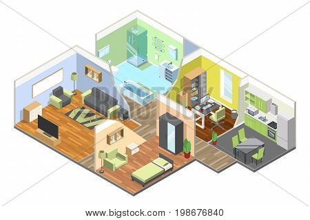 3d interior of modern house with kitchen, living room, bathroom and bedroom. Isometric illustrations set. Apartment isometric bathroom and dining room vector