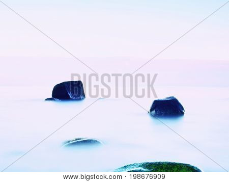 Everyone Loves Romantic Atmosphere Of Sea. Peaceful Sea Level, Stones In  Water