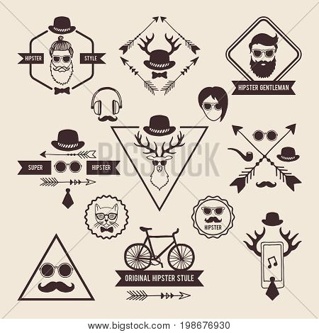 Hipsters badges templates with place for your text. Vector icons set labels hipster with mustache and head of deer illustration