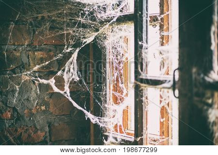 Burned Brick Wall With Spider Web, Bright Light From The Window