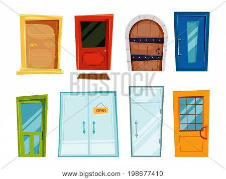 Closed doors of different types. Vector illustrations in cartoon style. Home door closed, doorway front