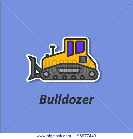 Bulldozer color flat icon. This is the vector icon for websites and electronic applications. This icon have a size of 48 by 48 pixels. Also you can edit the size of the icon in the graphical editor.