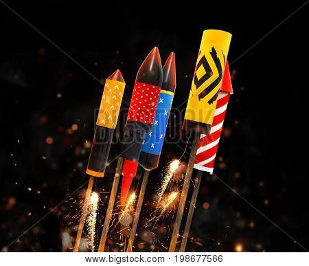 Group of fireworks rockets launching, isolated on black background. Concept of celebration and New Years Eve. 3D render of rockets.