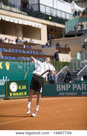 MONTE CARLO MONACO APRIL 21, Juan Carlos Ferrero ESP v Michael Llodra FRA competing in the ATP Masters tournament in Monte Carlo, Monaco, 19-27 April 2008.