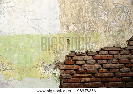 Broken old brick wall photo in Semarang, Indonesia
