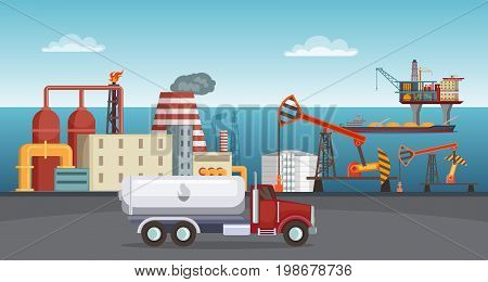 Background illustration of petroleum industry. Oil refinery, terminal of production. Petroleum manufacture building in sea vector