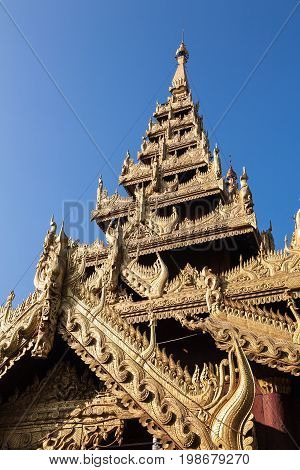 A detail of a temple tower on the religious site of the Shwezigon Pagoda in the town of Nyaung-U near Bagan in central Burma
