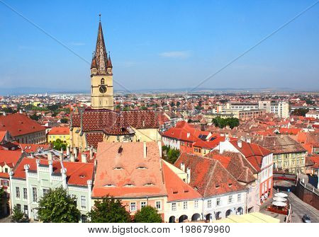 Top view from Council Tower on Lutheran cathedral tower, Bridge of Lies and houses on Small Square (Piata Mica), Sibiu, Transylvania, Romania