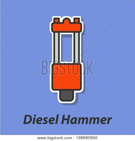 Diesel hammer color flat icon. This is the vector icon for websites and electronic applications. This icon have a size of 48 by 48 pixels. Also you can edit the size of the icon in the graphical editor.