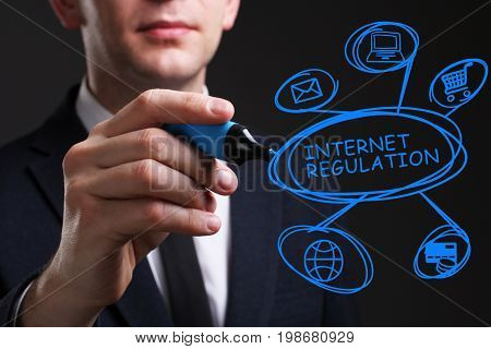 Business, Technology, Internet And Network Concept. Young Business Man Writing Word: Internet Regula