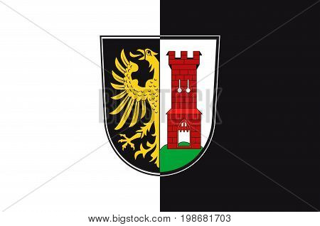 Flag of Kempten is the largest town of Allgau in Swabia Bavaria Germany. Vector illustration