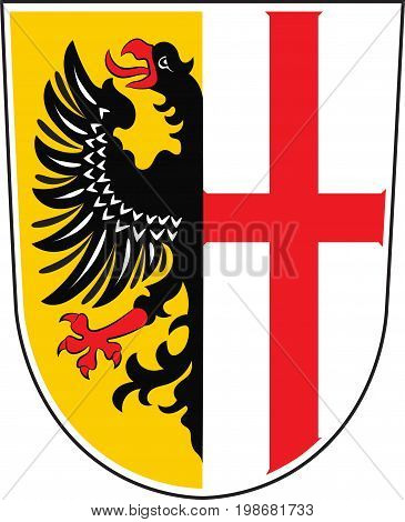 Coat of arms of Memmingen is a town in Swabia Bavaria Germany. Vector illustration from the