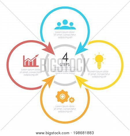 Outline round infographic element. Circle template 4 steps with arrows.