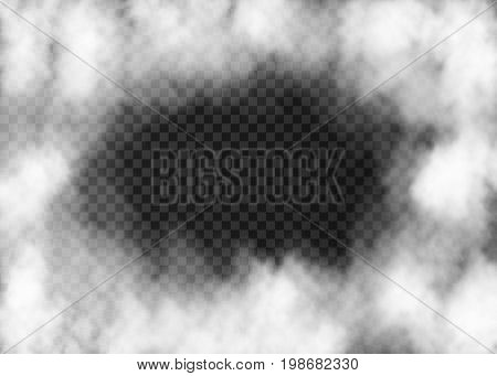 White Fog Frame  Isolated On Transparent Background.